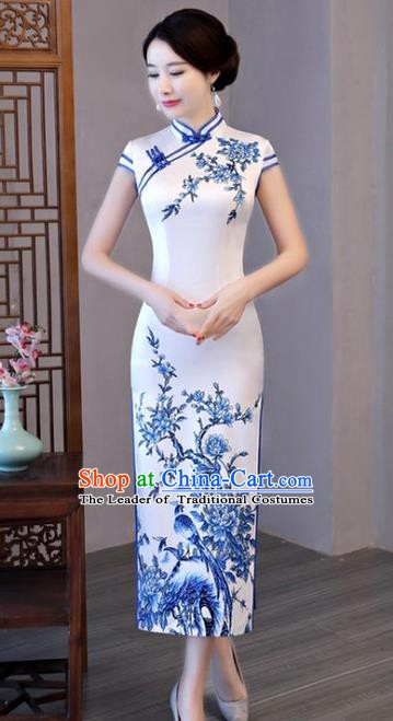 Chinese Traditional Printing White Elegant Cheongsam National Costume Silk Qipao Dress for Women