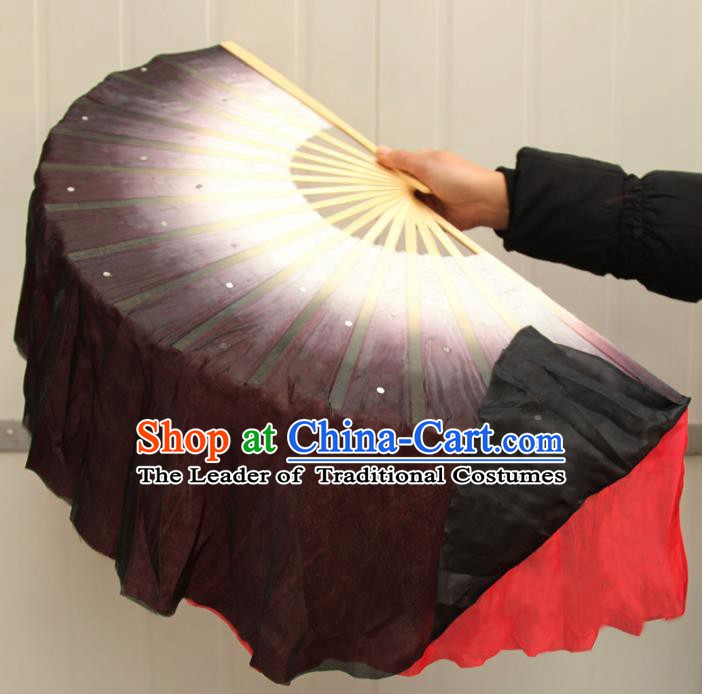 Chinese Handmade Folk Dance Black and Red Ribbons Folding Fans Yangko Dance Classical Dance Fans for Women