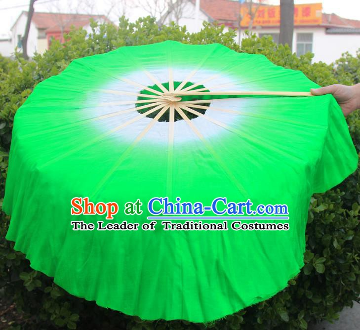 Chinese Handmade Folk Dance Green Lotus Leaf Folding Fans Yangko Dance Classical Dance Fans for Women