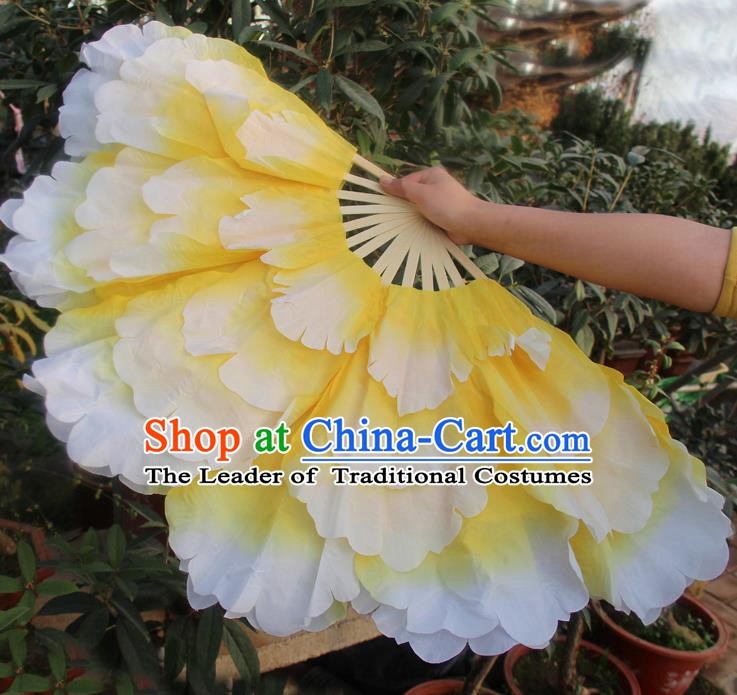 Chinese Handmade Folk Dance Folding Fans Yangko Dance Classical Dance Yellow Peony Fans for Women