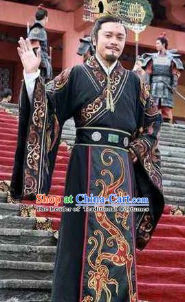 Ancient Chinese First Emperor of Qin Dynasty Ying Zheng Replica Costume for Men