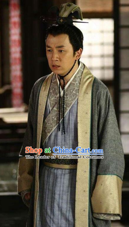 Ancient Chinese Han Dynasty Official Scholar Jiao Zhongqing Replica Costume for Men
