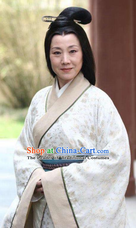 Chinese Ancient Han Dynasty Dowager Countess Mistress Hanfu Dress Replica Costume for Women