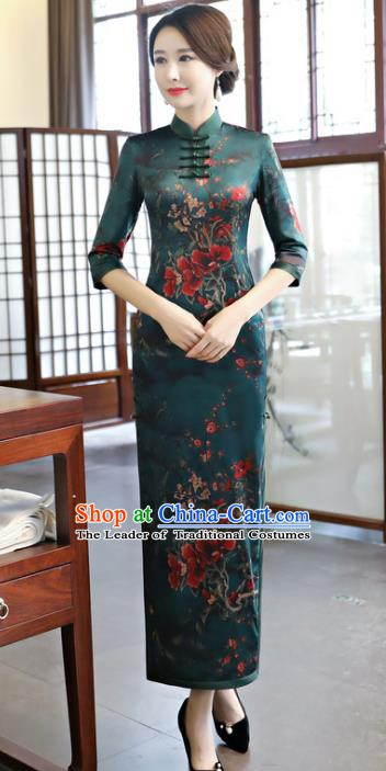 Chinese Traditional Elegant Atrovirens Cheongsam National Costume Watered Gauze Qipao Dress for Women