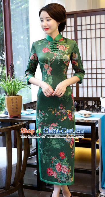 Chinese Traditional Elegant Deep Green Cheongsam National Costume Watered Gauze Qipao Dress for Women