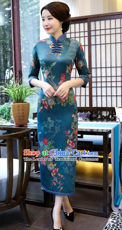 Chinese Traditional Elegant Blue Cheongsam National Costume Watered Gauze Qipao Dress for Women