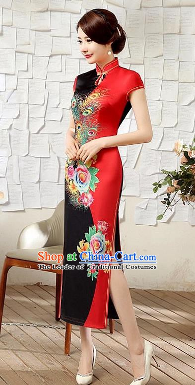 Chinese Traditional Elegant Printing Peony Phoenix Cheongsam National Costume Silk Qipao Dress for Women