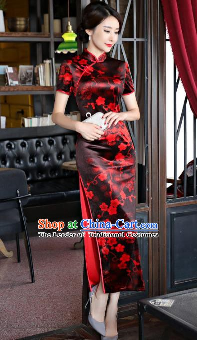 b038ab96f79 Chinese Traditional Elegant Black Cheongsam National Costume Plum Blossom  Qipao Dress for Women