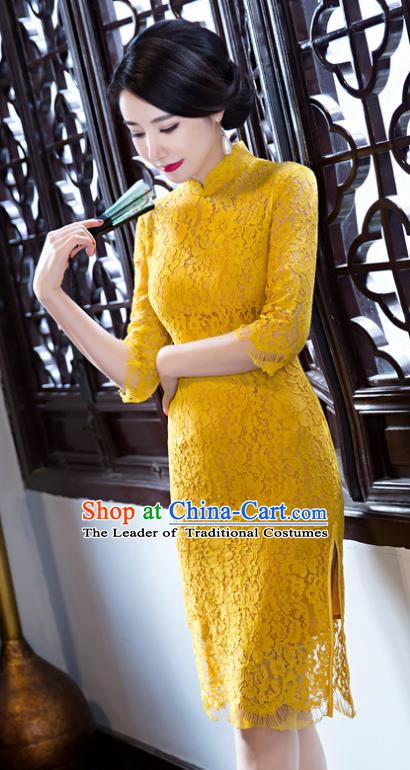 Chinese Traditional Elegant Yellow Lace Cheongsam National Costume Qipao Dress for Women
