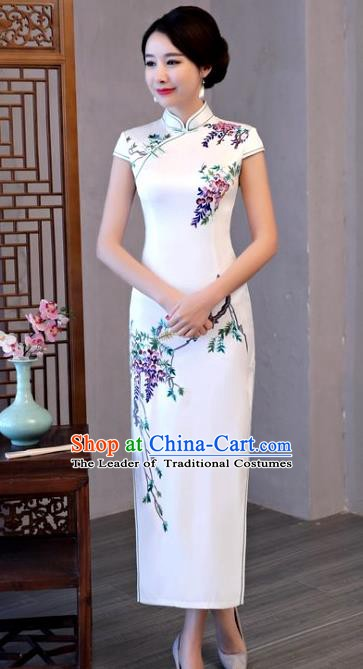 Chinese Traditional Elegant Cheongsam National Costume Printing Grape Silk Qipao Dress for Women