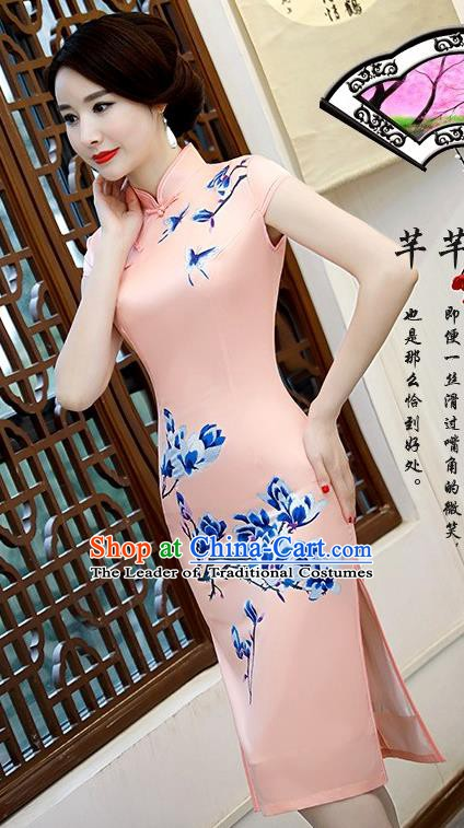 Chinese Traditional Elegant Retro Cheongsam National Costume Printing Mangnolia Pink Qipao Dress for Women