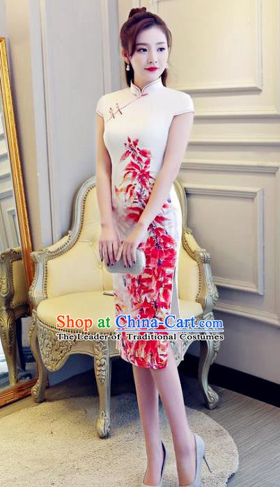 Chinese Traditional Elegant Retro Cheongsam National Costume Printing Qipao Dress for Women