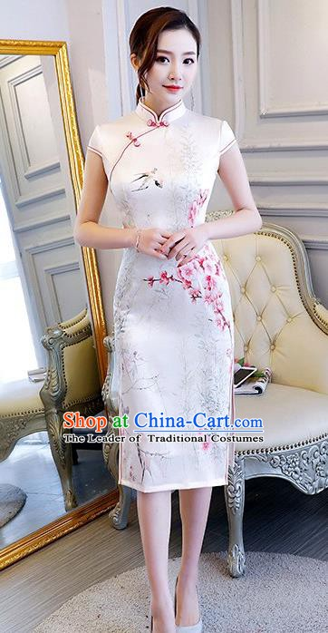 Chinese Traditional Elegant Retro Cheongsam National Costume Printing Peach Blossom Qipao Dress for Women