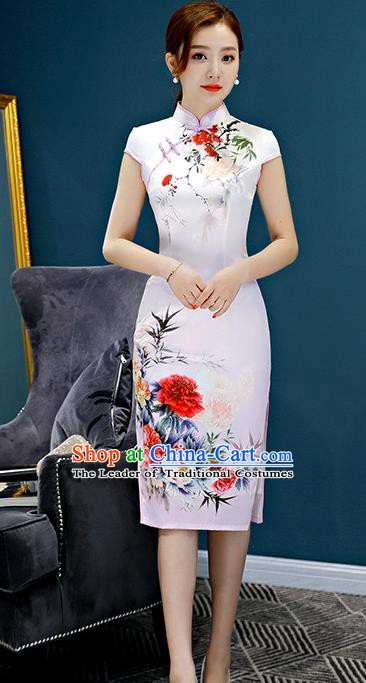 Chinese Traditional Elegant Retro Cheongsam National Costume Printing Peony Qipao Dress for Women