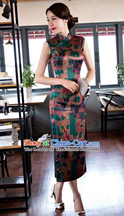 Chinese Traditional Elegant Retro Cheongsam National Costume Printing Green Qipao Dress for Women