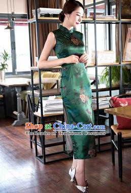 Chinese Traditional Elegant Retro Green Cheongsam National Costume Printing Qipao Dress for Women