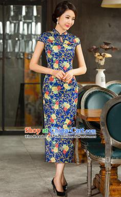 Chinese Traditional Elegant Retro Blue Cheongsam National Costume Printing Qipao Dress for Women