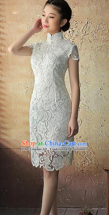 Chinese Traditional Elegant Retro White Lace Cheongsam National Costume Qipao Dress for Women