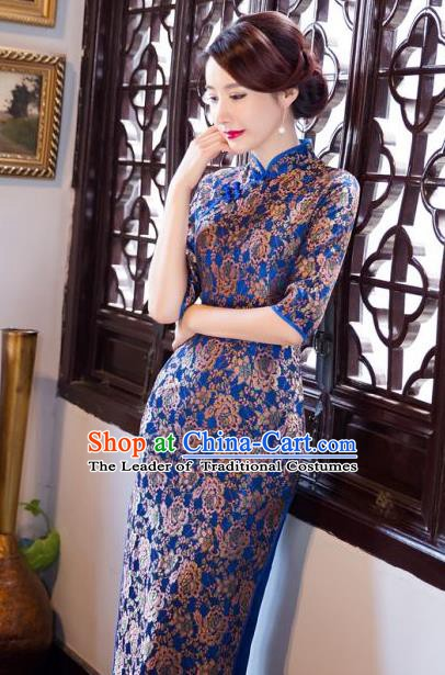 Chinese Traditional Elegant Cheongsam National Costume Blue Qipao Dress for Women
