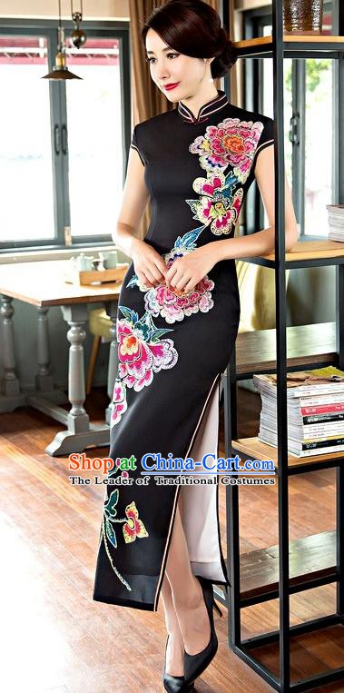 Chinese Traditional Elegant Long Cheongsam National Costume Printing Peony Black Qipao Dress for Women