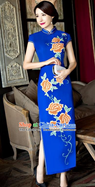 Chinese Traditional Elegant Long Cheongsam National Costume Printing Peony Blue Qipao Dress for Women