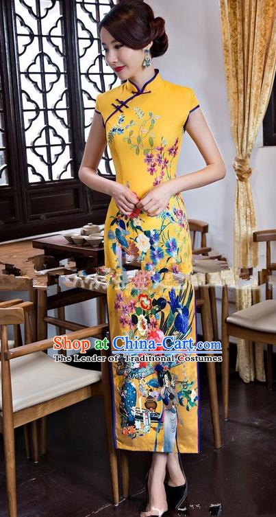 Chinese Traditional Elegant Long Cheongsam National Costume Printing Yellow Qipao Dress for Women