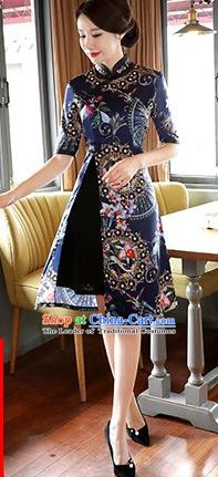 Chinese Traditional Elegant Blue Watered Gauze Cheongsam National Costume Printing Qipao Dress for Women