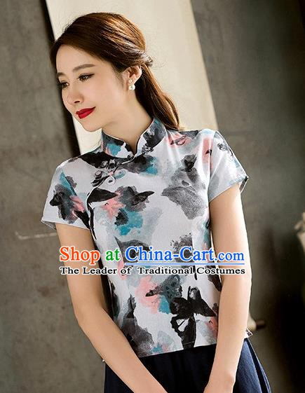 Chinese Traditional Elegant Cheongsam Short Blouse National Costume Tang Suit Qipao Shirts for Women