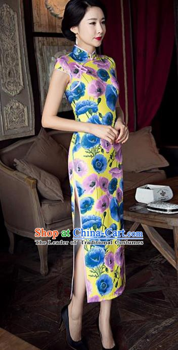 Chinese Traditional Elegant Silk Cheongsam National Costume Printing Qipao Dress for Women