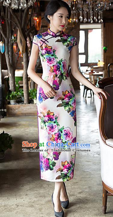 Chinese Traditional Elegant Silk Cheongsam National Costume Printing Flowers Qipao Dress for Women
