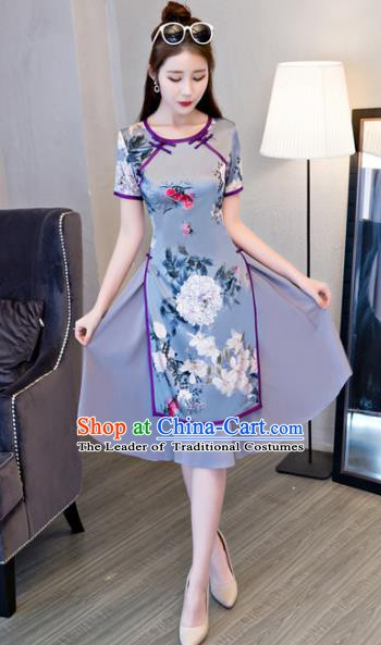 Chinese Traditional Elegant Printing Blue Cheongsam National Costume Retro Qipao Dress for Women