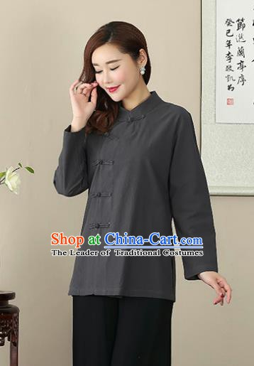 Chinese Traditional National Costume Grey Linen Blouse Tang Suit Qipao Short Shirts for Women
