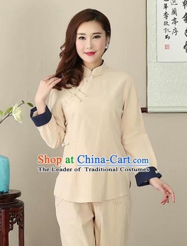 Chinese Traditional National Costume Khaki Linen Blouse Tang Suit Qipao Short Shirts for Women