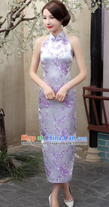 Top Grade Chinese National Costume Elegant Plum Blossom Brocade Cheongsam Tang Suit Lilac Qipao Dress for Women
