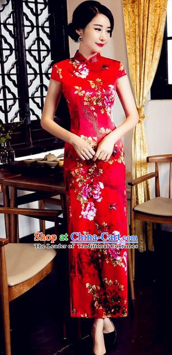 Top Grade Chinese National Costume Elegant Printing Peony Brocade Cheongsam Tang Suit Qipao Dress for Women