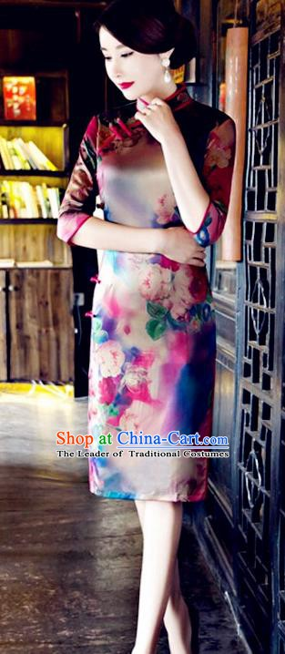 Top Grade Chinese National Costume Tang Suit Short Qipao Dress Elegant Printing Cheongsam for Women
