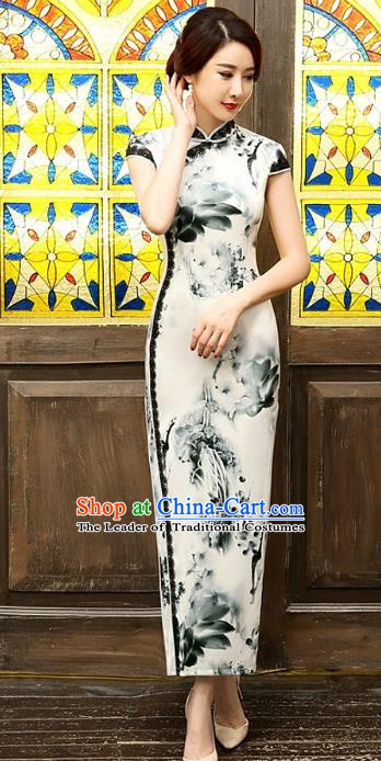 Chinese Traditional Elegant Ink Painting Silk Cheongsam National Costume Long Qipao Dress for Women