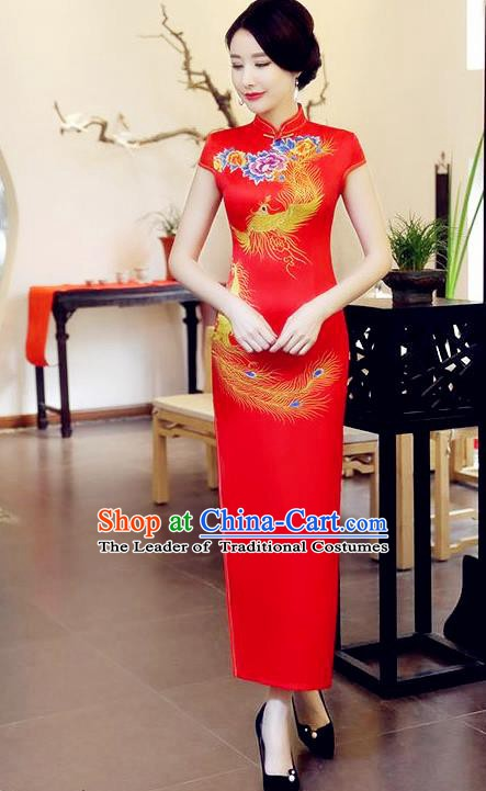 Chinese Traditional Elegant Cheongsam Wedding Red Satin National Costume Retro Printing Phoenix Qipao for Women