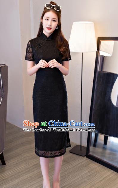 Top Grade Chinese Traditional National Costume Elegant Black Lace Cheongsam Qipao Dress for Women