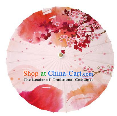 Chinese Handmade Pink Paper Umbrella Folk Dance Printing Peach Blossom Oil-paper Umbrella Yangko Umbrella