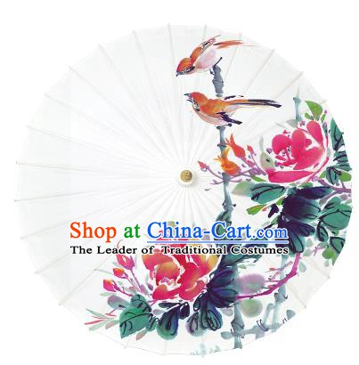 Chinese Handmade Paper Umbrella Folk Dance Painting Flowers Birds Oil-paper Umbrella Yangko Umbrella