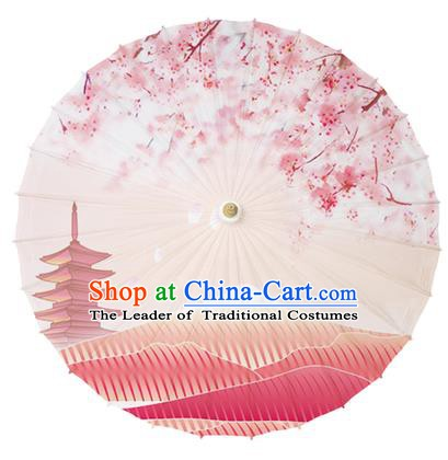 Chinese Traditional Paper Umbrella Folk Dance Handmade Painting Pagoda Oriental Cherry Oil-paper Umbrella Kimono Umbrella