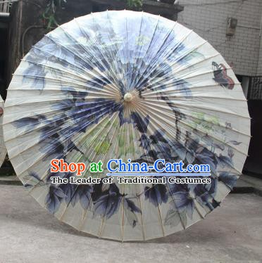 Chinese Traditional Artware Paper Umbrella Folk Dance Painting Blue Peony Oil-paper Umbrella Handmade Umbrella