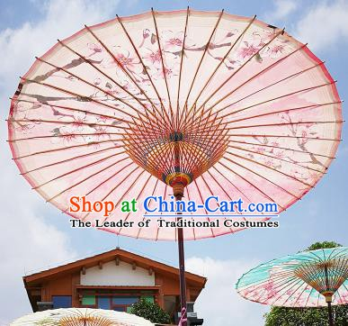 Chinese Traditional Artware Paper Umbrella Folk Dance Painting Peach Blossom Pink Oil-paper Umbrella Handmade Umbrella