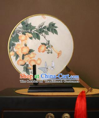 Chinese Traditional Circular Fans Handmade Printing Petunia Round Fan China Ancient Palace Dance Fans