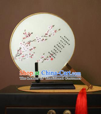 Chinese Traditional Circular Fans Handmade Printing Wintersweet Round Fan China Ancient Palace Dance Fans