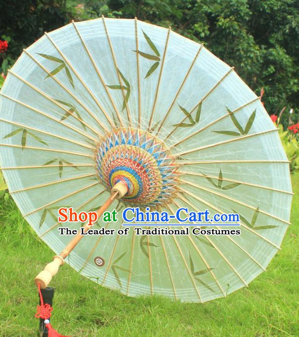 Chinese Traditional Artware Paper Umbrella Classical Dance Printing Bamboo Leaf Oil-paper Umbrella Handmade Umbrella