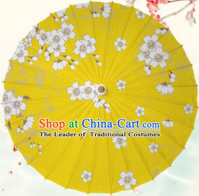 Chinese Traditional Artware Yellow Paper Umbrella Classical Dance Printing Peach Blossom Oil-paper Umbrella Handmade Umbrella