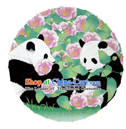 Chinese Traditional Artware Paper Umbrellas Ink Wash Painting Double Pandas Peony Oil-paper Umbrella Handmade Umbrella