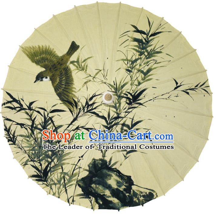 Chinese Traditional Artware Paper Umbrellas Printing Bamboo Bird Oil-paper Umbrella Handmade Umbrella